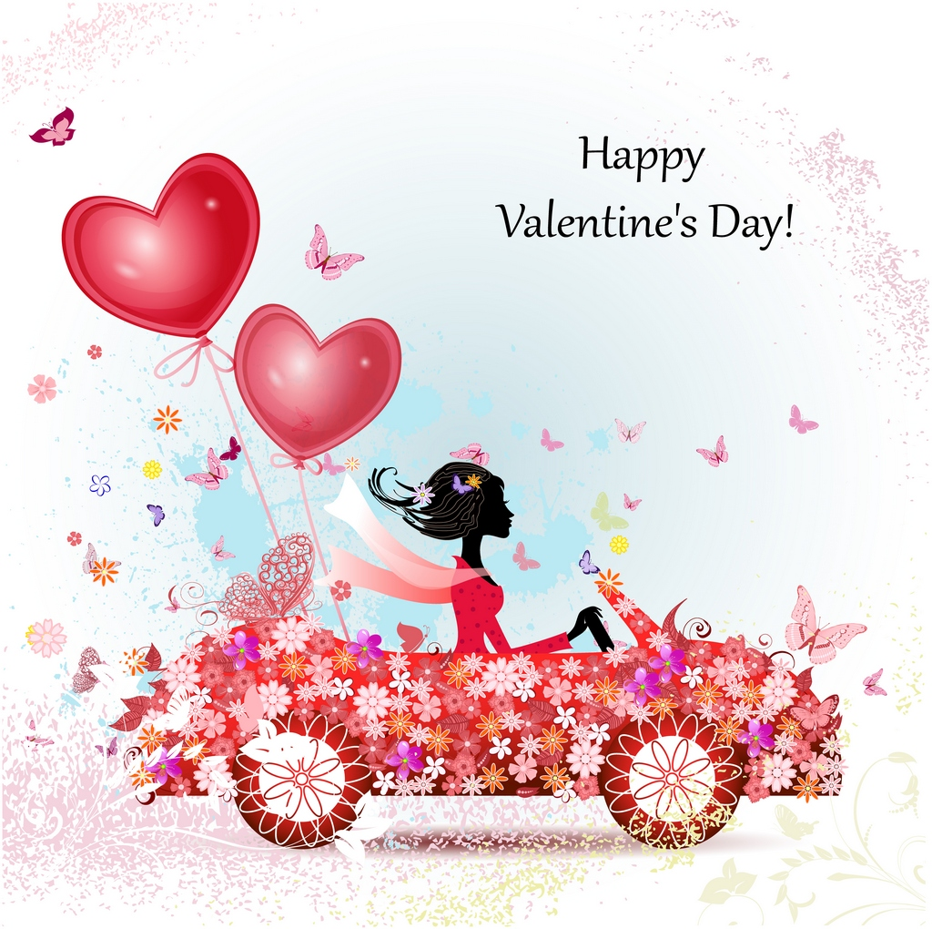 girl in a car with valentines