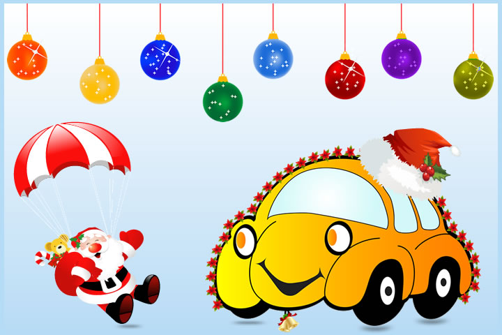 car decorated for christmas